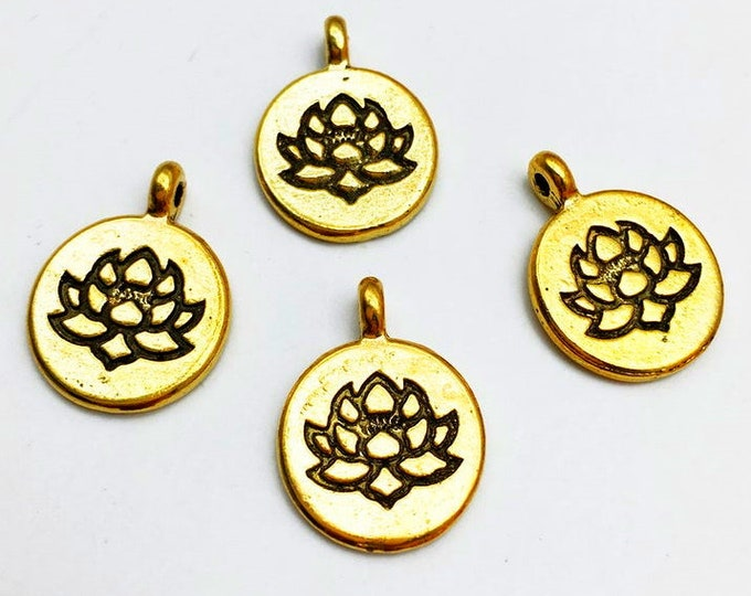 Lotus, Medallion, Charm, 15mm, Gold Plated, Pewter, Lead Free, Priced per Piece