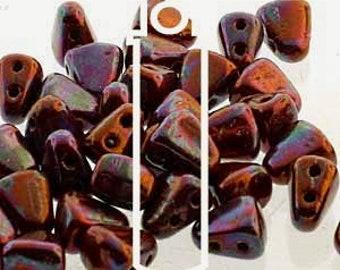 Umber Nebula, Nib-Bit, Matubo, Two Hole, 6x5mm, Czech Glass, 10 grams per bag, Priced per bag