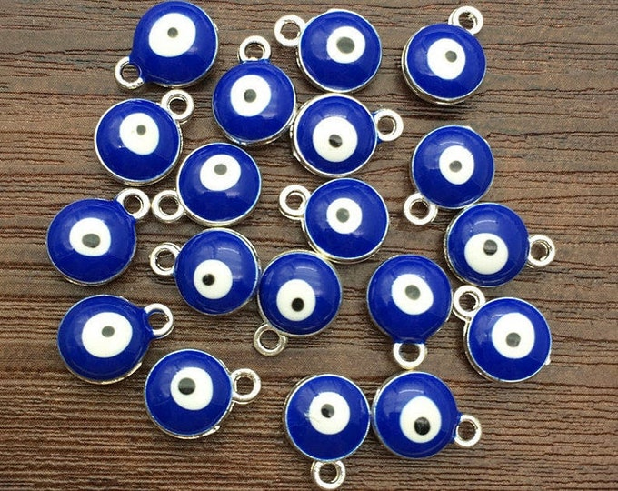 Evil Eye, Cobalt, Charm, 8mm, Enameled, Silver Plated, Pewter, Lead Free, Priced per Piece