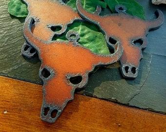 "Cow Skull, Skull, Charm, Pendant, Rusty Cowgirls, 3"", Rusted Iron, Plasma Cut, Priced per Piece"