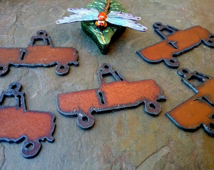 """Farm Truck, Charm, Rusty Cowgirls, 2x2.5"""", Rusted Iron Pendant, Priced per Piece"""