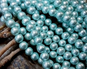 Pearls, Cotton Pearls, 8mm, Round, Aqua, J686, 4.5 inches, 15 beads, Priced per Strand