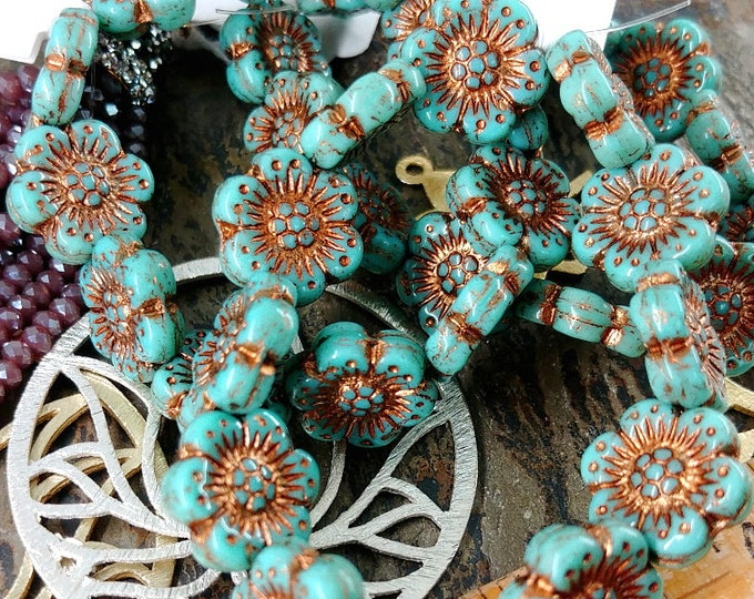 Turquoise, Bronze Wash, Wild Rose, Coin, 14mm, Czech Pressed Glass, 12 Pieces per Strand, Priced per Strand