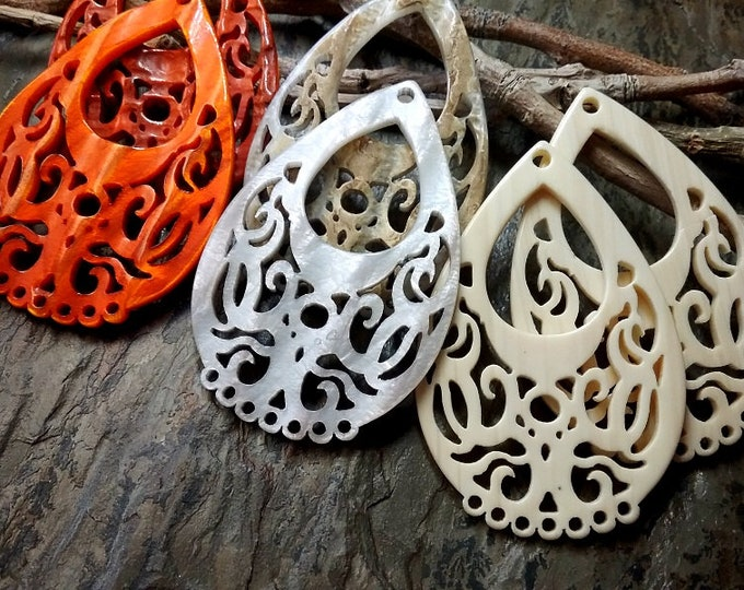Filigree Teardrop, Laser Cut, Resin, German Made, 45x65mm, Tortoise Shell, Carnelian, Ivory, Grey, Priced Per Piece