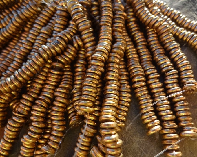 Rondelle, Natural Brass Rhondelle, 6x1.5mm, African Brass, African Trade, SHORT STRAND, 55-60 beads, Priced per Strand