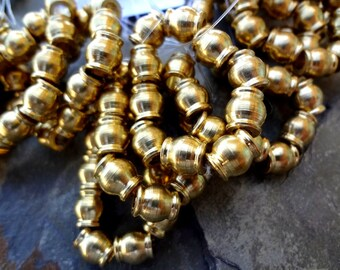 Rounds, Gold Plated, 8x7mm, African Trade, African Brass, Solid Brass, 82 Beads per Strand, Priced per Strand