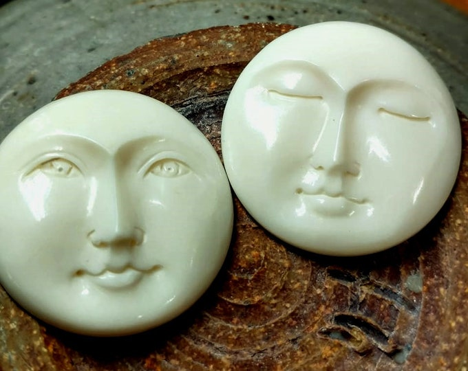 Moon Face, Cabochon, 30mm, Eyes Closed, Eyes Open, Carved Bone, Indonesia, Priced per Piece