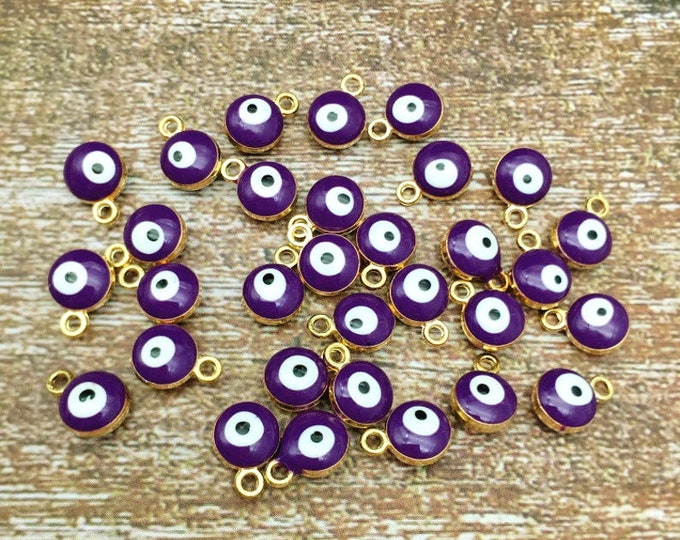 Evil Eye, Dark Purple, Charm, 7mm, Enameled, Gold Plated, Pewter, Lead Free, Priced per Piece