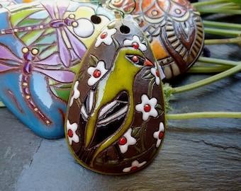 Green Bird, 43x28mm, Handmade, Golem, Pendant, Terra Cotta, Priced per Piece