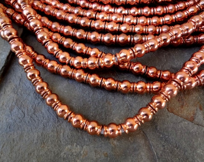 Rounds, Copper Plated, 7x6mm, African Trade, African Brass, Solid Brass Beads, 25 inch strand, 90 beads, Priced per Strand