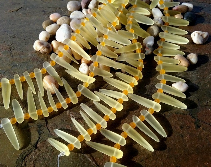 Tusks, Lemon, Sea Glass, 15 to 28mm, Contemporary, 7 inch strands, 20 beads per strand, Priced per Strand