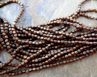 Rounded Cube, 3x2mm, Bronze Plated, African Brass Trade Beads, 25 Inch Strand, Priced per Strand