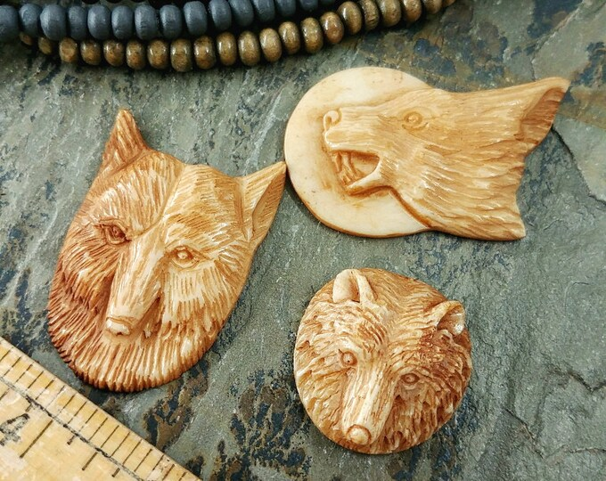 Wolf, Cabochon, Howling, 40x24mm, 22mm, 37x25mm, Stained, Bone, Made in Indonesia, Priced per piece