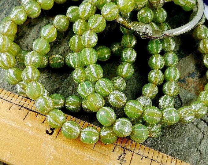 Tea Green, Mercury Silver, 6mm, Melon, Czech Glass, 25 pieces per strand, Priced per strand