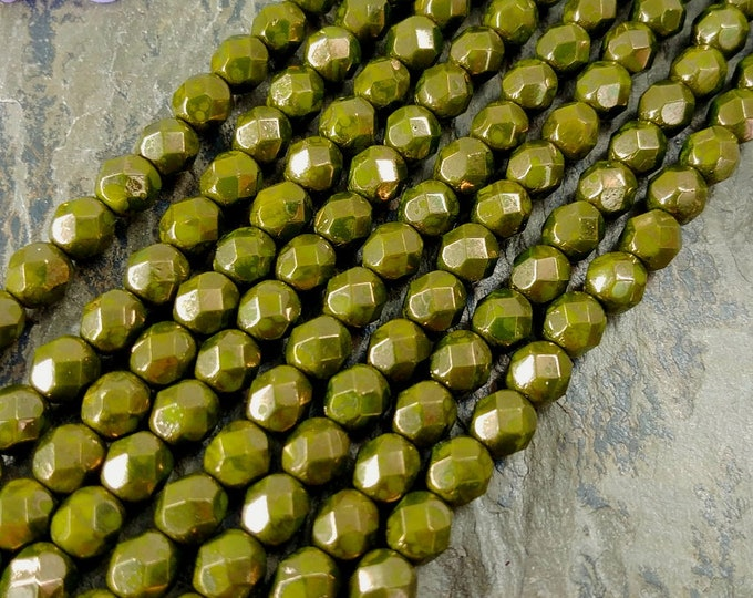 Olive Moondust, Opaque, 6mm, Firepolish, Czech Glass, Faceted Round, 25 Beads per Strand, Priced per Strand