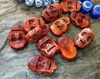 Skull, Hand Carved, 13x21mm, Water Buffalo Bone, Made in Indonesia, Sustainable, Dyed, Reddish Brown, Priced per Piece