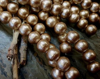 Pearls, Cotton Pearls, 10mm, Round, Beige, J685, 4 inches, 10 beads, Priced per Strand