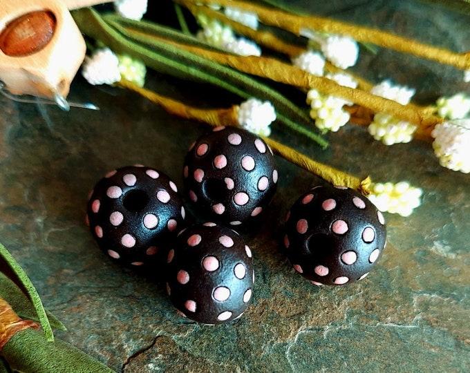 Featured listing image: Pink, Polka Dots, Dark Ceramic, Spacers, Ceramic, 10mm, Round, Handmade, Golem Studios, Priced per Piece