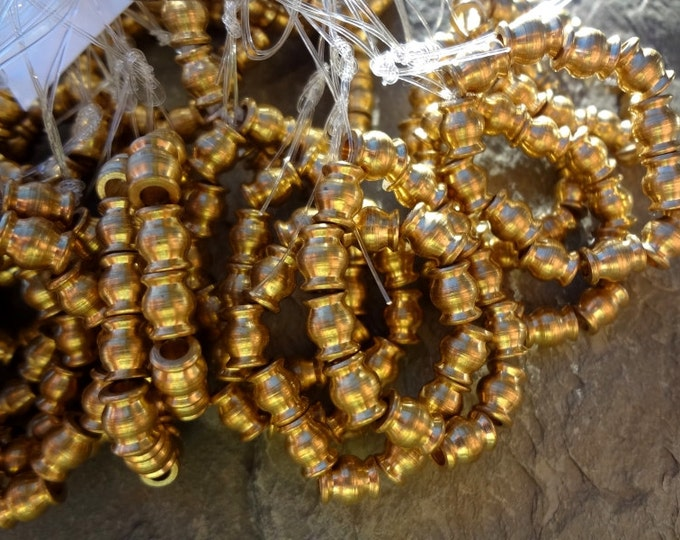 Rounds, Gold Plated, 7x6mm, African Brass, African Trade, Solid Brass Beads, 25 Inch Strand, 95 pieces, Priced per Strand