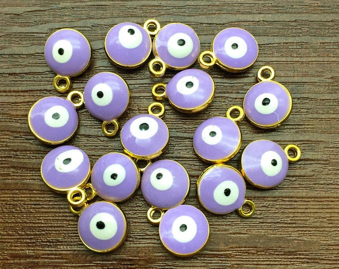 Evil Eye, Lavender, Charm, 10mm, Enameled, Gold Plated, Pewter, Lead Free, Priced per Piece