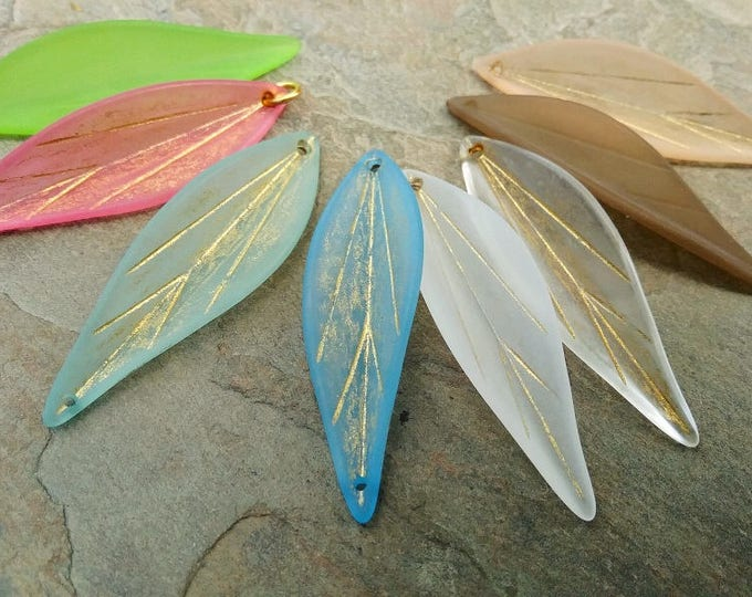 Long Leaf, Pendant, Resin, 50x15mm, VINTAGE, Matte Transparent, Gold Washed, Mixed Colors, Priced per Piece