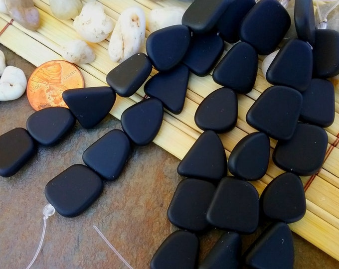 Freeform Flat, Sea Glass, 13 to 16mm, Opaque Black, 6 Beads per Strand, Priced per Strand