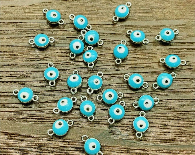Evil Eye, Dark Turquoise, Connector, 7mm, Enameled, Silver Plated, Pewter, Lead Free, Priced per Piece