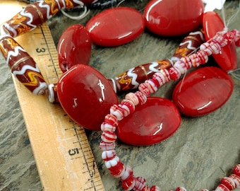 Indonesian, Lampwork, Glass Beads, Ovals, Tubes, Rondelles, 30mm, 6mm, Rusty Red, Red, Maroon, Priced per strand