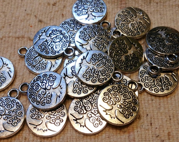 Tree of Life, Medallion, Charm, Double Sided, 15mm, Silver Plated, Pewter, Lead Free, Priced per Piece