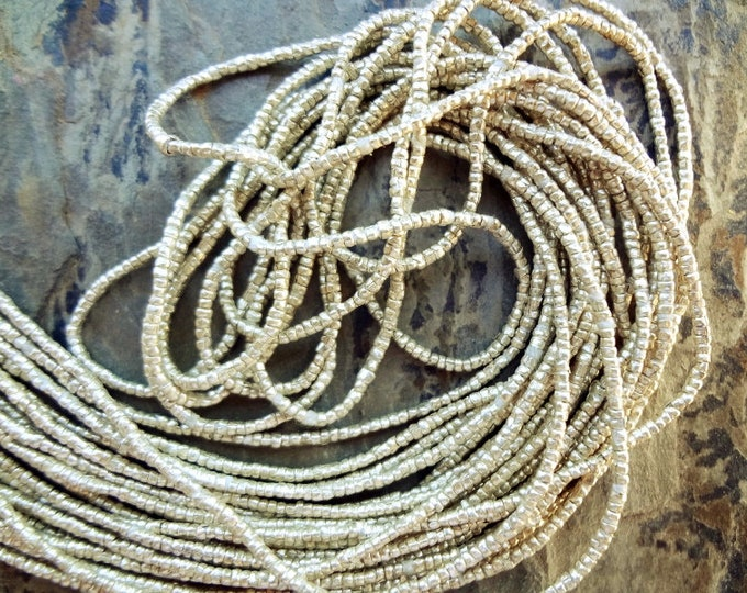 Heishi, 1x1.2mm, Silver Plated, African Brass, African Trade, 29 Inches, Priced Per Strand