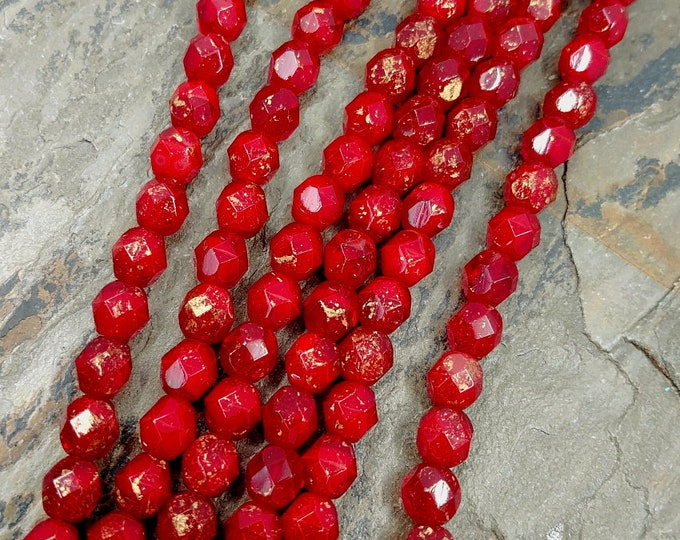 Oxblood, Gold Marbled, Transparent, 6mm, Firepolish, Czech Glass, Faceted Round, 25 Beads per Strand, Priced per Strand