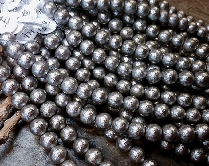 Pearls, Cotton Pearls, 8mm, Round, Grey, Silver, J688, 4.5 inches, 15 beads, Priced per Strand