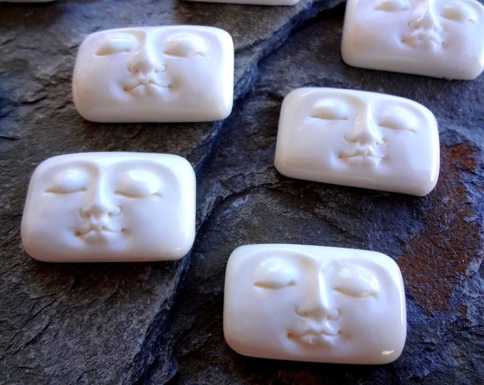 Moon Face, Cabochon, Rounded Rectangular, 25x15mm, Bone, Hand Carved, Indonesia, Priced per Piece