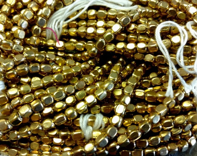 Rounded Cube, 4x3mm, Gold Plated, African Brass Trade Beads, 25 Inches per Strand, Priced Per Strand