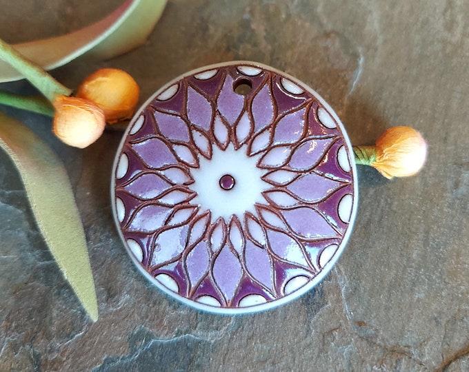 Featured listing image: Purple, Sunburst, Round, 38mm, Handmade, Golem Studios, Pendant, Terracotta Ceramic, Priced per Piece