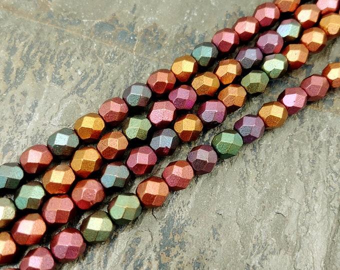 Bronze Iris, Opaque, 6mm, Firepolish, Czech Glass, Faceted Round, 25 Beads per Strand, Priced per Strand