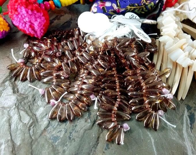 Topaz Luster, Mini Dagger, Czech Glass, 4x10mm, Transparent, 25 beads per strand, Priced per strand