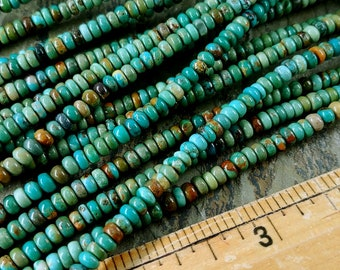 Turquoise, Tibetan, 4x2mm, Mixed Grade, Smooth Rondelles, Half Strands, 70 Beads per Strand, Priced per Strand