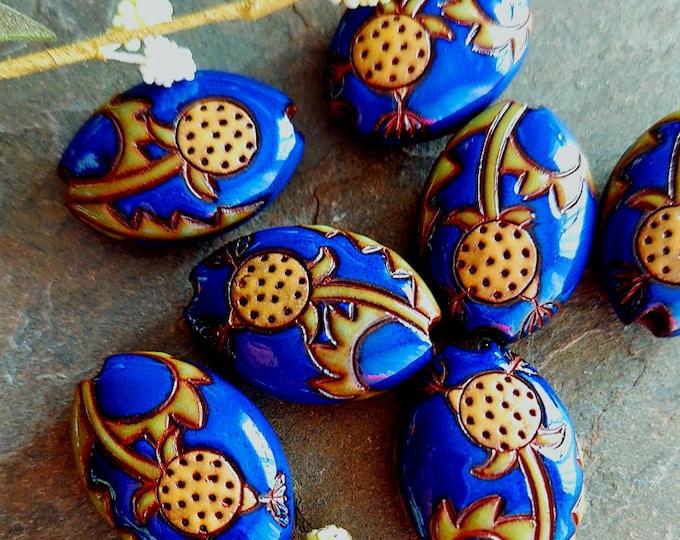 Featured listing image: Dandelions, Cobalt, 24x19mm, Carved, Almond, Handmade, Golem Studios, Terracotta, Priced per Piece