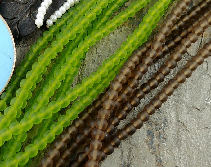 4mm Smooth Rounds, Sea Glass, Olive, Priced per Strand