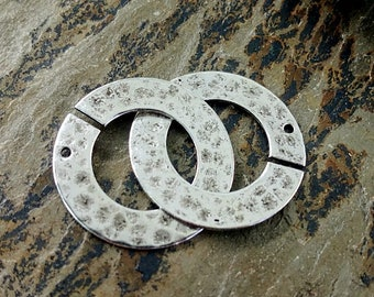 Ring Clasp, Hammered, 22mm, Plated Brass, Antique Silver, Priced per set