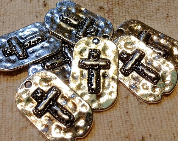 Cross, Faith, Dog tag, Charm, Pendant, Two Sided, 29x18mm, Silver Plated, Hammered, Pewter, Lead Free, Priced per Piece