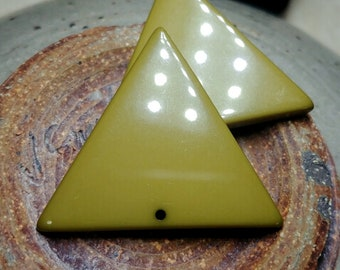 Olive, Triangle, Resin, 40mm, German Made, Contemporary, Priced Per Piece