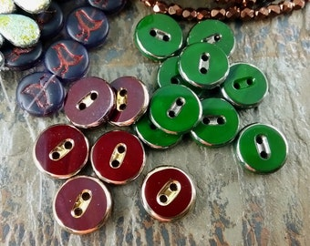 Glass Button, Vintage, German Made, 12mm, Opaque, Mixed Colors, Gold Highlight, Priced per Button