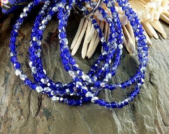Cobalt Blue, Metallic Silver, 4mm Firepolish Rounds, Czech Glass, 50 Beads per Strand, Priced per Strand