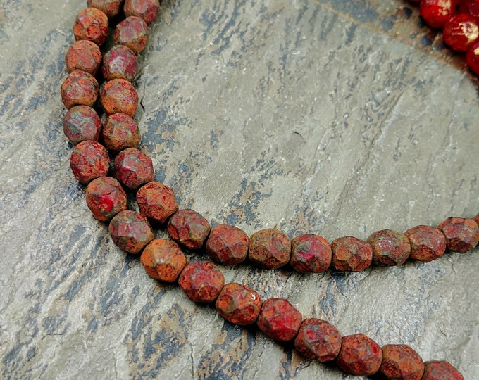 Red Picasso, Stone, Etched, 6mm, Firepolish, Czech Glass, Faceted Round, 25 Beads per Strand, Priced per Strand