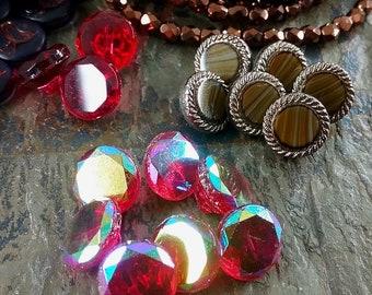Glass Button, Vintage, German Made, 11mm, 13mm, Matte Black Flowers, Rosaline, Rosaline AB, Priced per Button