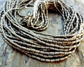 Brass Tube, MATTE Dark Silver, 4mm, Rice Bead, African Brass, African Trade Bead, 25 Inch Strand, Priced per Strand