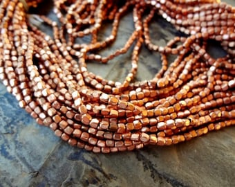 Rounded Cube, 3x3mm, Shiny Copper, African Brass, Trade Beads, 25 Inch Strand, Priced per Strand