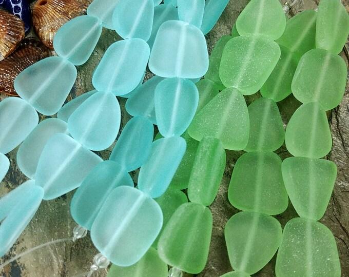 Flat Freeform, Sea Glass, 13 to 16mm, Seafoam Green, Coke Bottle, Peridot, 6 Beads per Strand, Priced per Strand